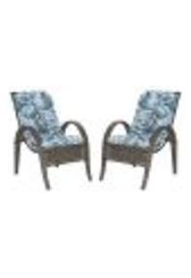 Cadeiras 2Un P/ Jardim Lazer Edicula Varanda Descanso Fibra E Tramas Napoli Plus Pedra Ferro A06