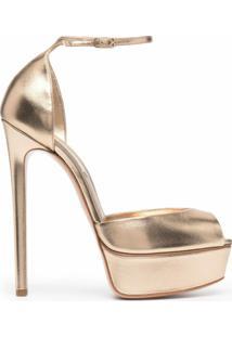 Casadei Sandália Com Plataforma De Couro - Dourado