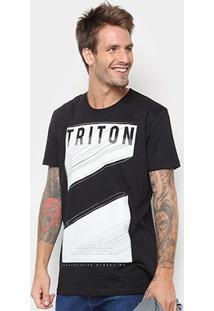 Camiseta Triton Estampada Masculina - Masculino-Preto