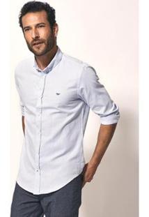 Camisa Aviator Slim Fit Oxford Masculina - Masculino-Azul