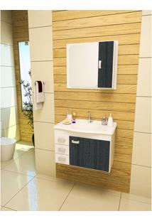 Gabinete Armarinho Para Banheiro Gabinetto Conjunto Monza 4505 Cor Branco Com Preto