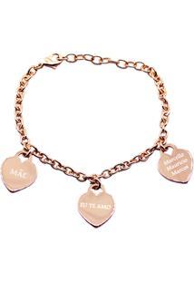 Pulseira Corações Personalizados Banhado A Ouro Rosé La Madame Co