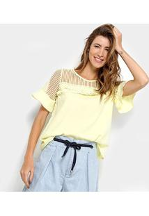 Blusa Ms Fashion Transparência Renda Feminina - Feminino-Amarelo