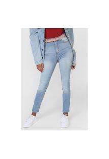 Calça Cropped Jeans Hering Slim Estonada Azul