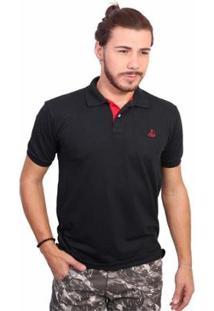 Camisa Polo Clube Náutico Slim Masculina - Masculino-Preto
