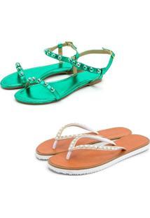Kit 2 Pares Chinelo Sandália Rasteira Feminina Conforto Fashion Verde E Branca