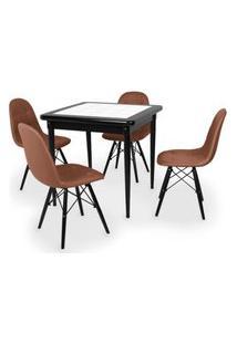 Conjunto Mesa De Jantar Em Madeira Preto Prime Com Azulejo + 4 Cadeiras Botonê - Marrom