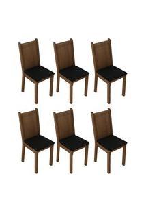 Kit 6 Cadeiras 4290 Madesa - Rustic/Sintético Preto Marrom