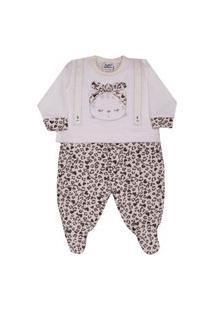 Macacão Longo Plush Sleeping Bear Onça Sonho Mágico Rn Rosa