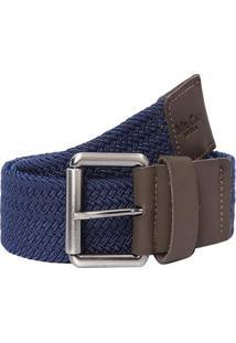 Cinto Texturizado- Azul Escuro & Marrom- 100X4Cmmr. Cat