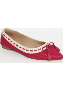 Sapatilha Texturizada Com Barbicachos- Pink & Off Whitecek