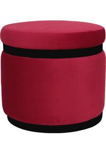 Puff Banqueta Decorativo Round Preto Veludo Vermelho