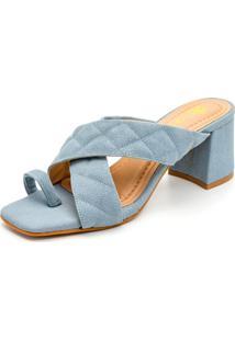 Sandália Tamanco Feminina Salto Baixo Retro Confort Azul - Tricae