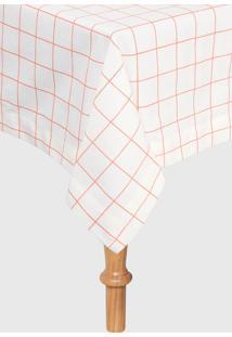 Toalha De Mesa Retangular Naturalle Fashion Panama Grid Coral 160X250Cm Off-White - Off White - Dafiti