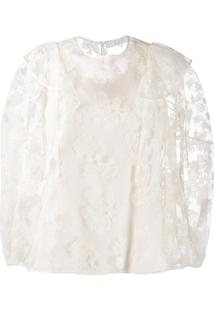 Chloé Blusa Com Bordado Floral E Tule - Branco