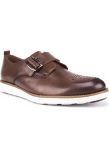 Sapato Masculino Fechamento Com Fivela Couro Marrom