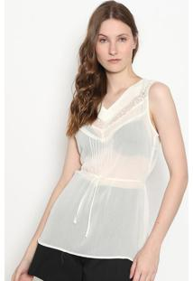 Blusa Lisa Com Transparãªncia - Off White - Enfimenfim
