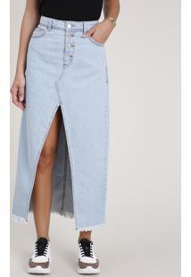 Saia Jeans Feminina Longa Com Fenda E Barra Desfiada Azul Claro