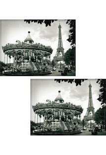 Jogo Americano Colours Creative Photo Decor - Carrossel E Torre Eiffel Em Paris Na França - 2 Peças