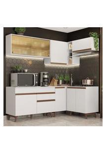Cozinha Completa De Canto Madesa Reims 332002 Com Armário E Balcáo - Branco Branco