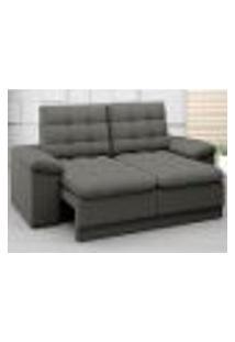 Sofá Confort 1,80M Assento Retrátil E Reclinável Velosuede Cinza - Netsofas