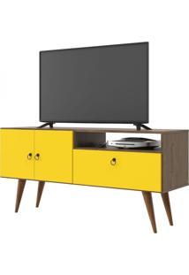 Rack Para Tv Topázio Demolição Com Amarelo Patrimar Móveis