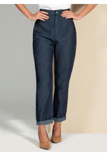Calça Jeans Escuro Com Detalhes De Tachas