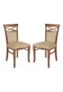 Kit 2 Cadeiras Decorativas Sala De Jantar Minos Madeira Maciça Com Puxador Poliéster Creme - Gran Belo