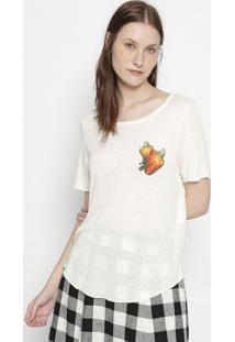 Camiseta Com Linho - Bege & Amarelaosklen