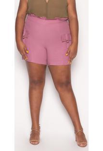 Shorts Almaria Plus Size Kayla Forli Linho Uva - Roxo - Feminino - Viscose - Dafiti