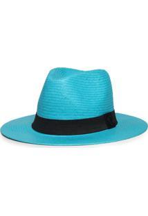 Chapéu Panamá Aba Média Palha Shantung Colorido Chapéu & Estilo Azul