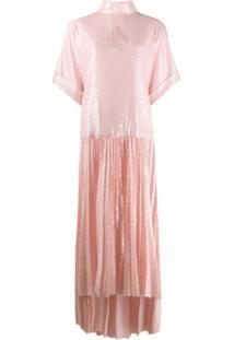 Atu Body Couture Vestido Gola Alta Ampla Com Paetês - Rosa