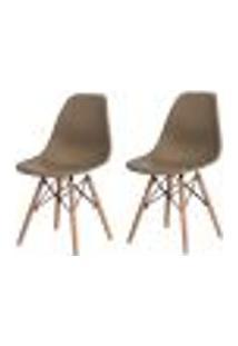 Kit 2 Cadeiras Charles Eames Eiffel Nude Base Madeira Sala Cozinha Jantar