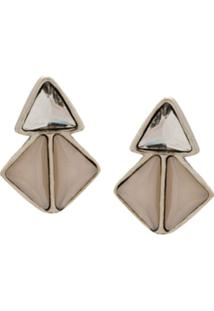 Camila Klein Par De Brincos Triângulos Triplo - Prateado