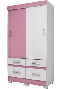 Roupeiro 2 Portas De Correr B25-66 Branco/Branco/Rosa-Chá - Briz