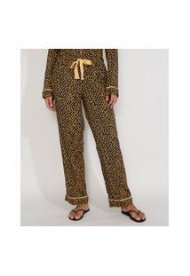 Calça De Pijama Feminino Estampada De Poá Com Vivo Contrastante E Laço Azul Escuro