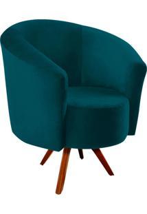 Poltrona Decorativa Angel Suede Azul Pavão Com Base Giratória Madeira - D'Rossi