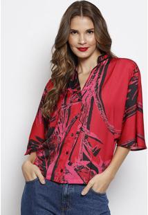 Camisa Com Botãµes & Tag- Vermelha & Preta- Forumforum