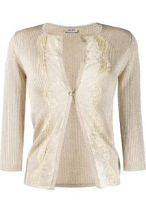 Liu Jo Lace Panel Cardigan - Dourado