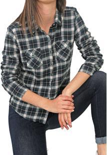Camisa Polo Wear Xadrez Flanela Cinza/Verde
