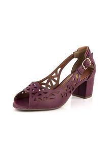 Sapato Peep Toe Recortes Laser New Pele Vermelho Escuro