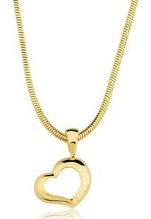 Colar Toque De Joia Coração Vazado - Feminino-Dourado