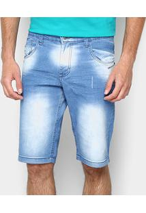 Bermuda Jeans Zamany Lavagem Média Masculina - Masculino