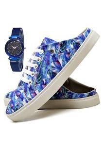 Tênis Mule Sapatênis Casual Fashion Com Relógio Sky Feminino Dubuy 313El Azul