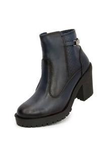 Bota Ankle Boot Salto Médio Sapatofranca Sem Cadarço Azul Escuro