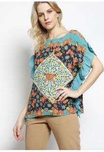 Blusa Floral Com Babados - Verde Água & Laranja- Ahaaha
