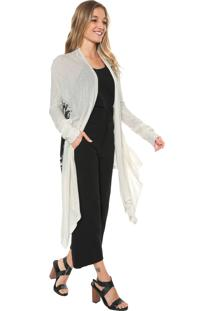 Maxi Cardigan Sacada Assimétrico Off-White