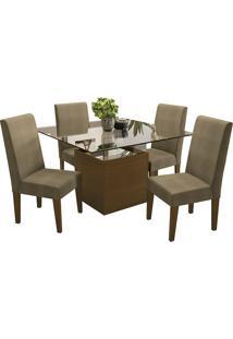 Mesa De Jantar Com 4 Cadeiras Csj162Waf – Kappesberg - Capuccino