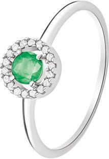 Anel Em Ouro Branco 18K Com Diamante, Esmeralda - Intense 18