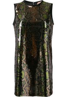 Nº21 Sequinned Snakeskin-Effect Shift Dress - Dourado